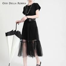 OddDellaRobbia Fashion Women Dark Harajuku Style Stitching Short Sleeved Dress Fake Two Pieces Net Yarn Cake Skirt Long Skirt411