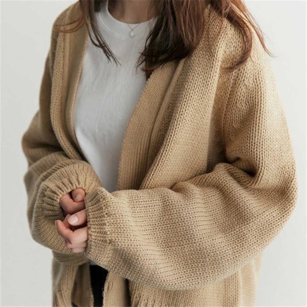 여성 느슨한 스웨터 여성 코트 솔리드 뜨개질 아웃웨어 캐주얼 오픈 프론트 카디건 캐주얼 스타일 코트