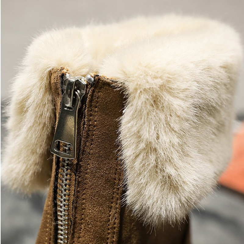 Warm Women Snow Boots Winter Fur Ankle Boots Black Chunky Suede Shoes Ladies 2020 Fashion Casual  Plush Platform Shoes  VT1529