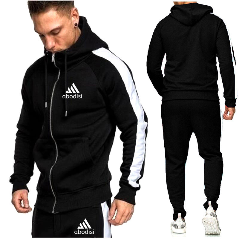 Casual Hoodies Tracksuits Solid 2 Piece Men Set Autumn White Edge Zipper Hooded Jacket  Drawstring Pants Mens Sportwear Suits