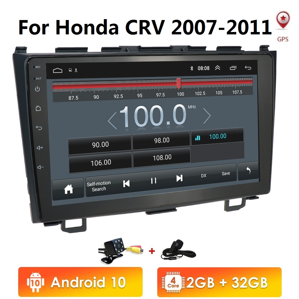 2din Android 10 Car <font><b>Multimedia</b></font> Player for <font><b>Honda</b></font> <font><b>CRV</b></font> 2007 2008 2009 2010 <font><b>2011</b></font> WiFi Stereo navi GPS BT 1024*600 NO DVD image