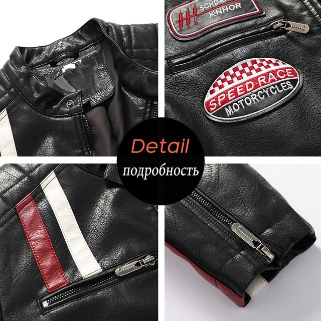 Aliksada Men Autumn Winter New Fashion Motor Biker Leather Jackets Coat Men Vintage Style Patchwork PU Faux Leather Jackets Men 6