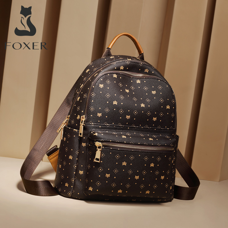 FOXER PVC Printing Cute Backpack Women Fashion Backpack With Adjustable Shoulder Strap Ladies Travel Rucksack Female School Bag