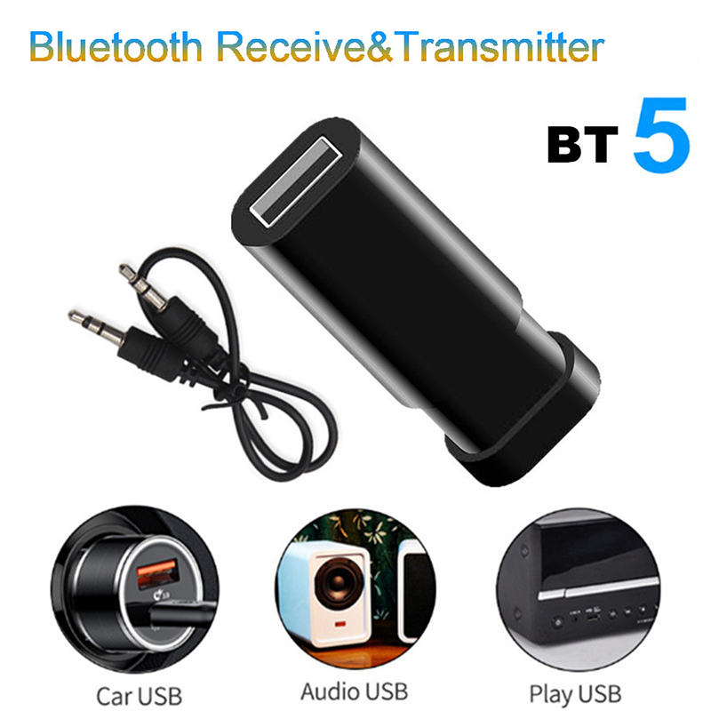 Bluetooth Audio Receiver 5.0 Transmitter 5 In 1 Mini 3.5mm Jack AUX USB Stereo Music Wireless Adapter For TV Car Headphones