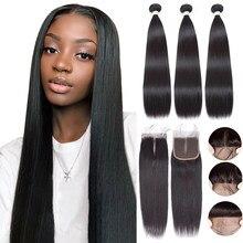 Малазийские пряди человеческих волос с застежкой прямые пряди с 4x4 кружевной застежкой Remy человеческие волосы для наращивания для черных ж...