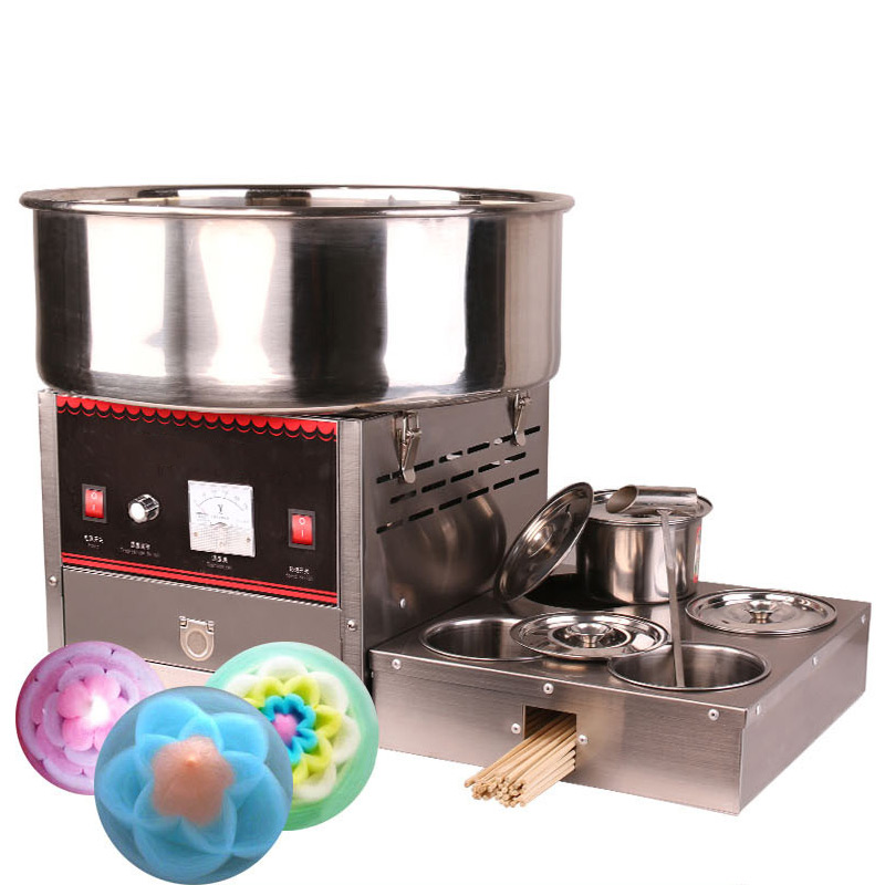 Cotton Candy Machine Commercial 1000W 220v Snack machines Stainless Steel Electric Flower Cotton Candy Maker Food Processors     - title=