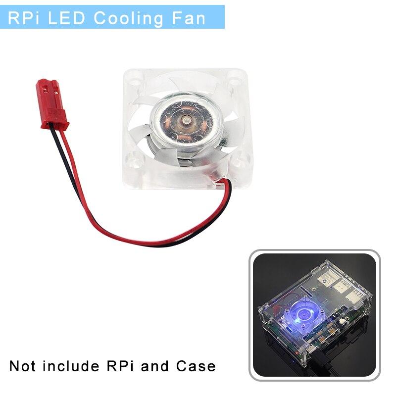 Raspberry Pi Bule Light Cooling Fan LED Cooler With 2 LED Light For Raspberry Pi 4/3B/3B+