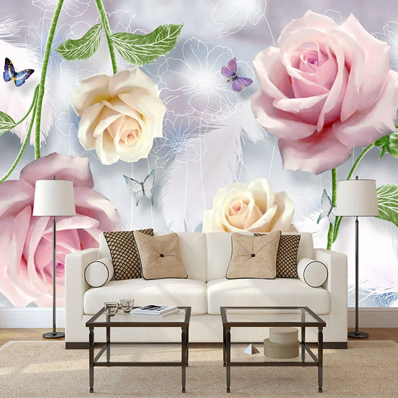 Drop Shipping Custom Mural Wallpaper For Bedroom Walls Embossed Flowers Butterfly Feather Waterproof Canvas Painting Wallpaper