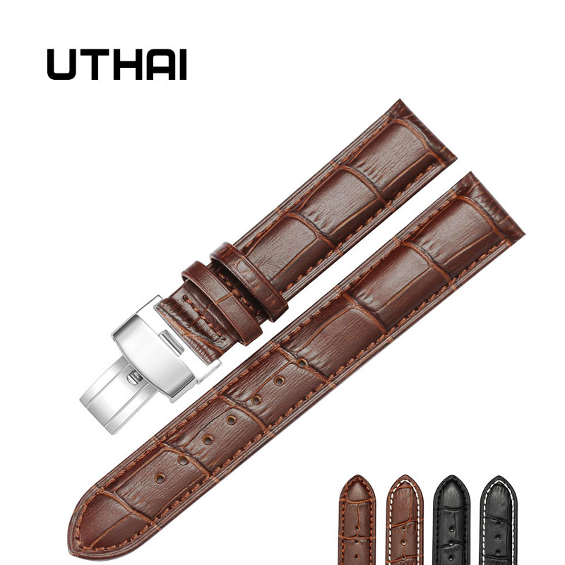 UTHAI B05 18/20/22/24mm Watch Strap Foldable Clasp Wristband Watch Leather Watch Strap  22mm Watch Band Calf Leather  Watchbands