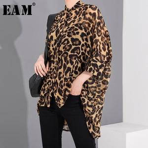 [EAM] Women Leopard Printed Chiffon Big Size Blouse New Lapel Three-quarter Sleeve Loose Shirt Fashion Spring Summer 2020 1U0110