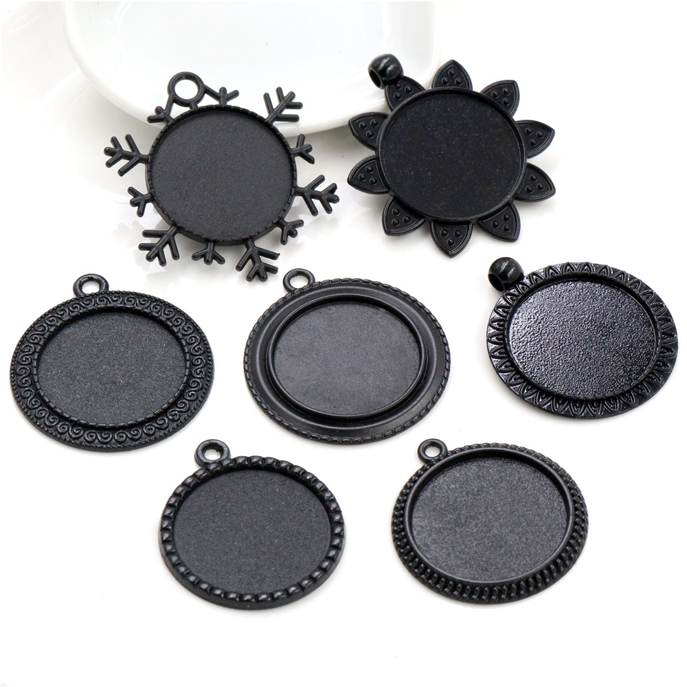 3pcs 25mm Inner Size Black Plated 7 Style Cabochon Base Setting Charms Pendant