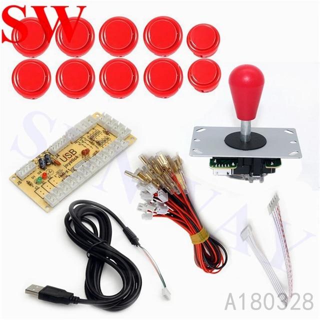 Kit de bricolage en forme de jeu, encodeur USB à PC, manette à 5 broches OEM + 10 boutons dentraînement pour darcade, # rouge