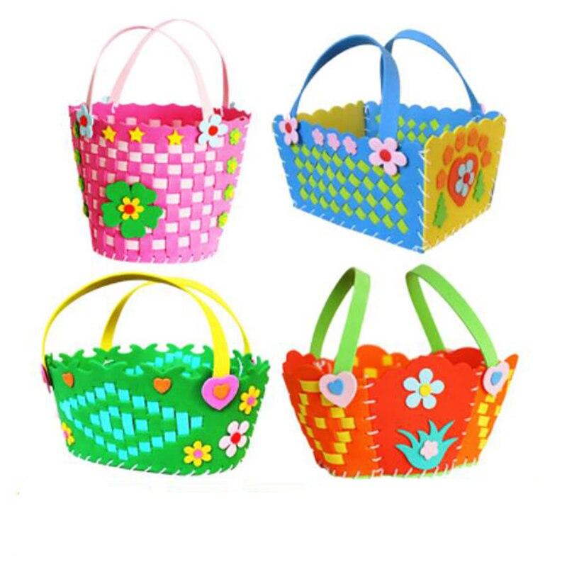 Literature And Art Hand-woven Small Flower Basket Children DIY Handmade New Eva Knitted Kindergarten Handmade Material  Handmade