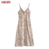 Tangada Women's Party Dress Leopard Midi Dress Strap Adjust Sleeveless 2021 Korean Fashion Lady Elegant Dresses QN40 1