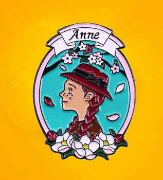 Anne Shirley enamel pin Lucy Maud Montgomery novel Prince Edward Island Kindred Spirits red headed girl badge image