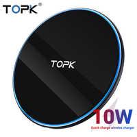 TOPK LED 10W Caricabatterie Senza Fili per Xiao mi mi 9 Samsung S10 S9 PORTATILE UNIVERSALE Veloce Di Ricarica senza Fili Per iPhone 11 Pro Max Xs