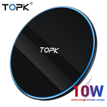 TOPK LED 10W Wireless Charger for Xiaomi Mi 9 Samsung S10 S9 Portable Universal Fast Charging iPhone 11 Pro Max Xs