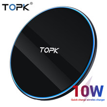 TOPK LED 10W Wireless Charger for Xiaomi Mi 9 Samsung S10 S9 Portable Universal Fast Wireless Charging for iPhone 11 Pro Max Xs(China)
