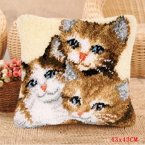 Image 3 - Smyrna Latch Hook Pillow Cute Cat Carpet Embroidery Do It Yourself Carpet Cushion Button Package Latch Hook Rug Kits knoopkussen