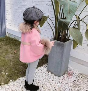 Image 3 - Cape en laine pour petite fille, manteau dhiver en laine, rouge et rose