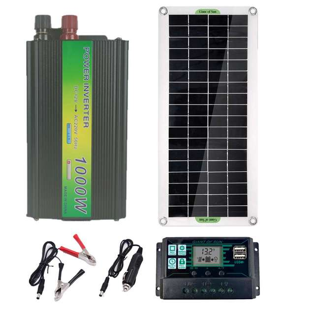 220V 30W Solar Panel Battery Charger 1000W Inverter USB Kit Complete 10A Controller Solar Power System 220V Home Grid Camping