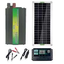 220v 30w painel solar carregador de bateria 1000 inversor kit usb completo 10a controlador sistema energia solar 220v casa grade acampamento
