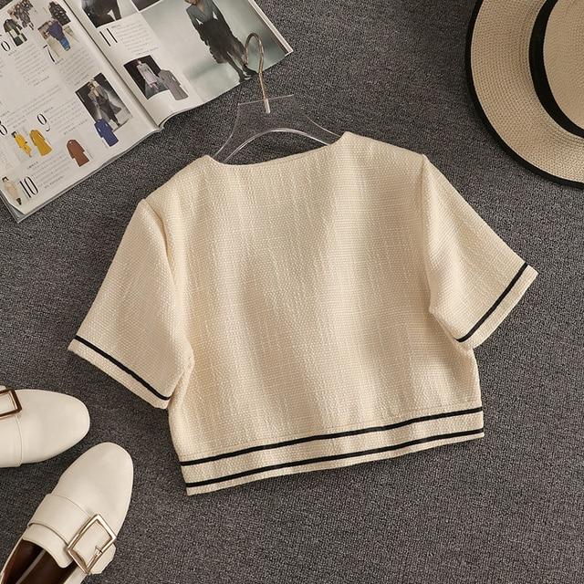 Streetwear Fashion Summer Two Piece Set Women Crop Top Shirt Blouse + Wide Leg Pant Suits Vintage Jacket Coat Pants 2 Piece Set 3
