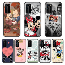 Disney mickey mouse caso de telefone para huawei p 40 30 20 10 lite inteligente z pro preto etui coque pintura hoesjes moda cômica