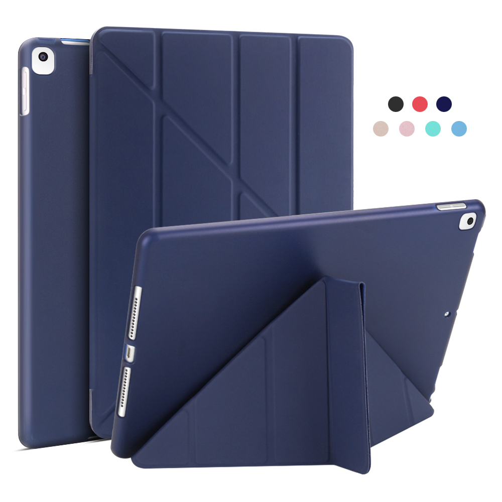 Dark Blue Yellow For iPad 10 2 Case 2020 2019 PU Leather Multi Fold Stand Smart Cover For iPad
