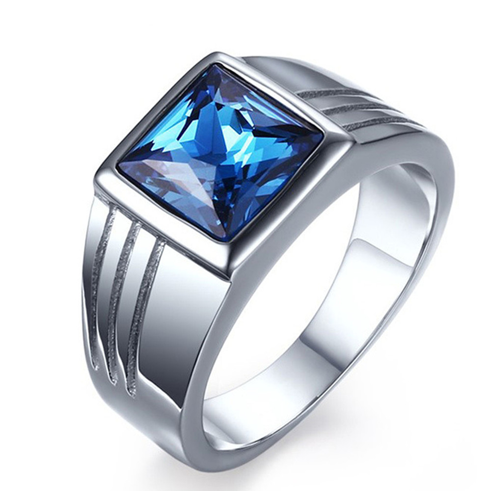 Square Aquamarine Blue Gemstone Rings For Men White Gold Silver Stainless Steel Diamond Bague Bijoux Jewelry Birthday Party Gift