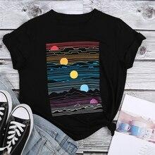 Sunset Print T Shirt Women Black Tops Tee Fashion Summer Sho