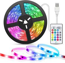 LED Strip Light Music Sync 5M USB Powered Cuttable Remote RGB 5050 Color Changing TV Backlight for Home Decoration PC Mirror