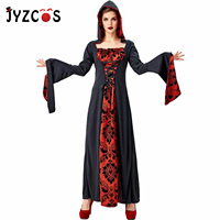 JYZCOS Halloween Costumes for Women Dress Black Red Sorcerer Robe Anime Cosplay Naruto Court Vampire Stage Jumpsuit Hat Disfraz