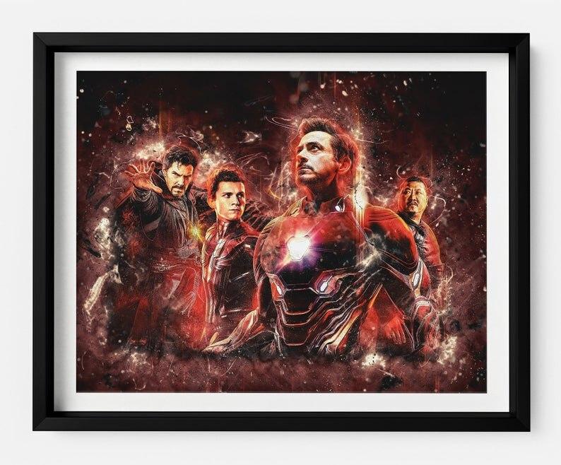 Современная Настенная живопись Мстители персонаж эндшпиль Железный человек Тор Капитан Америка постеры картина холст домашний декор - Цвет: Светло-зеленый