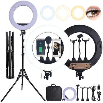 fosoto ZB-R18 LED Ring Light Photographic Lighting 3200-5600K 80W Ring Lamp With Tripod Stand For Makeup Camera Phone Video
