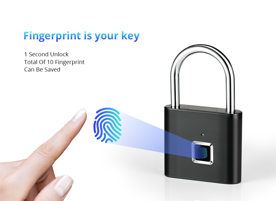 Fingerprint Lock Smart Padlock Keyless USB Rechargeable Door Lock