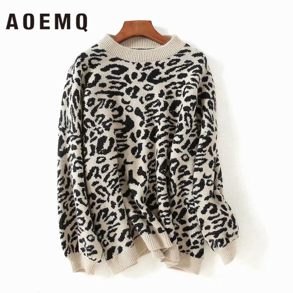 AOEMQ Punk Fashion Sweaters 3 Colors Cow Pattern Print Wind Leopard Winter Sweaters O-Neck Crazy Animal Day Women Clothing