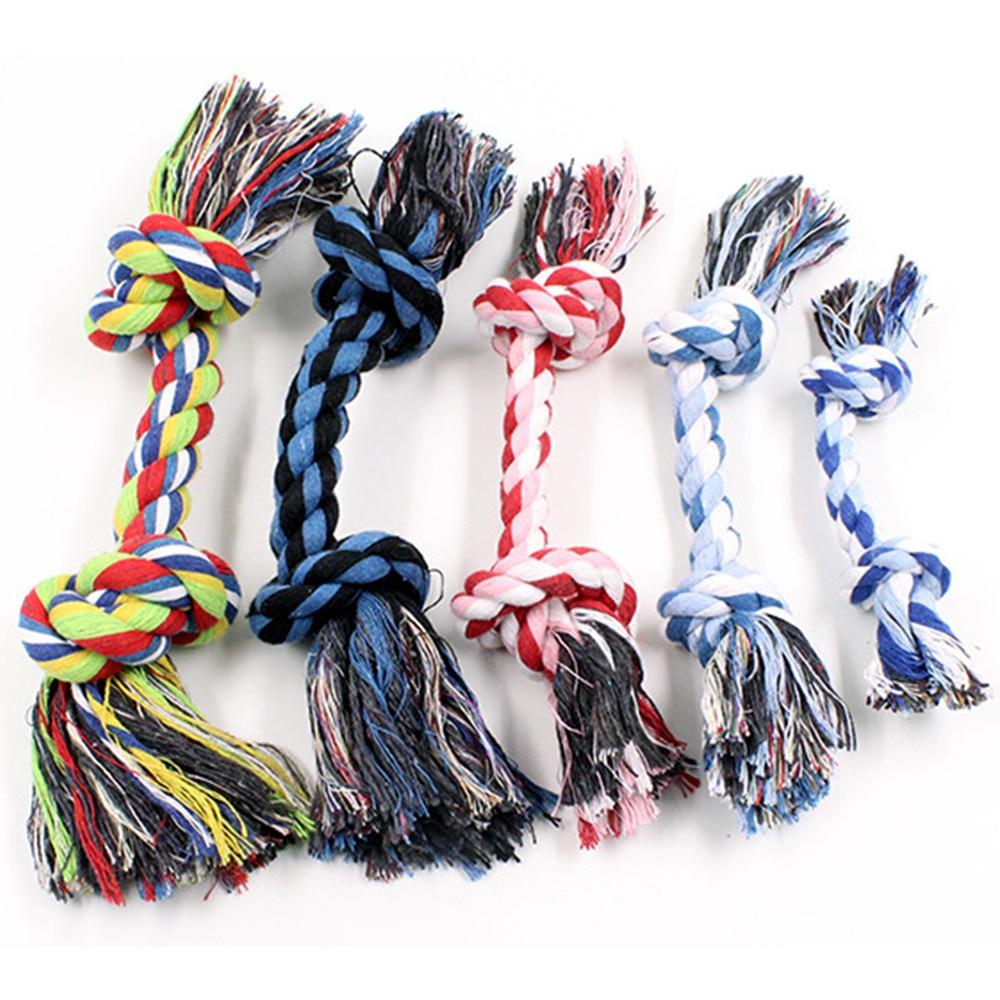 Собачья игрушка для домашних животных прочный двойной узел из хлопчатобумажной веревки плетеная Кость Форма Щенок Жевательная молярная игрушка чистящие принадлежности для зубов (случайный цвет)-5