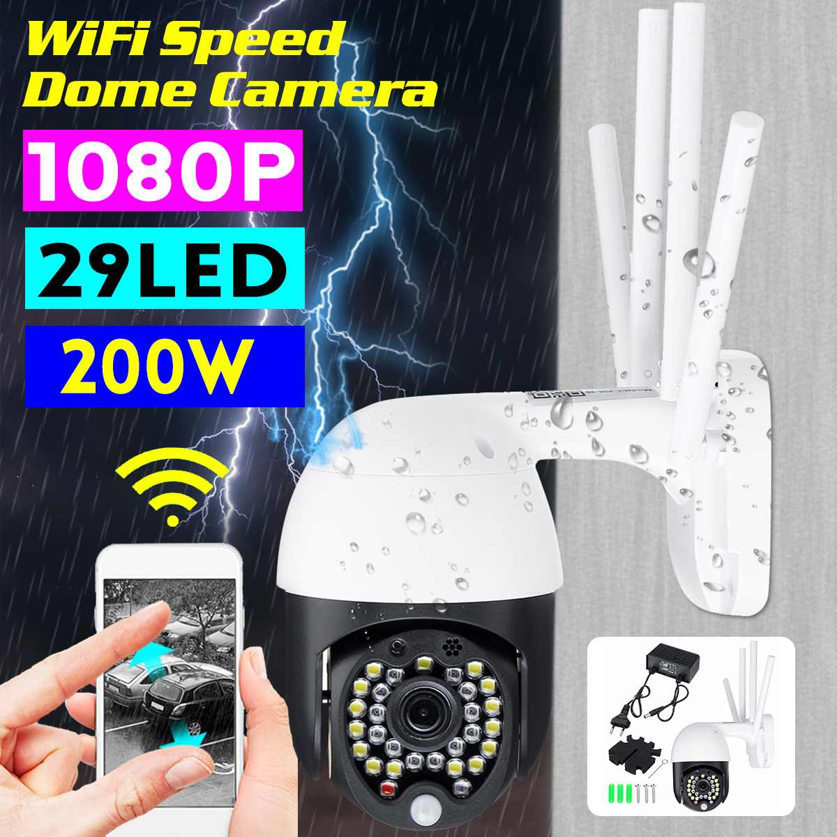 PTZ IP Camera Wifi 1080P Wireless Wireless P2P CCTV Outdoor Speed Dome Motion Sensor 2MP Security Camera Surveillance System