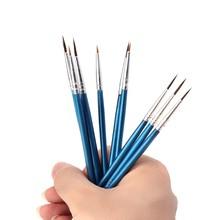 10 adet naylon saç sanatçı boya fırçası akrilik suluboya yuvarlak ince el nokta ucu 634B