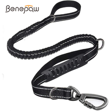Benepaw Quality Strong Bungee Dog Leash Reflective Comfortable 2 Padded Handle Shock Absorbing Pet Leash For Medium Large Dogs
