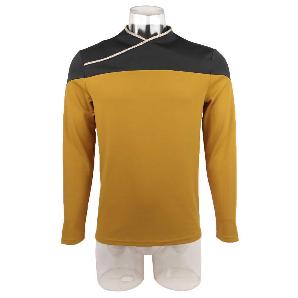 Star Trek TNG Capitão Picard Vermelho Uniforme Jaqueta Top Voyager DS9 Amarelo Trajes Cosplay Festa de Halloween Prop