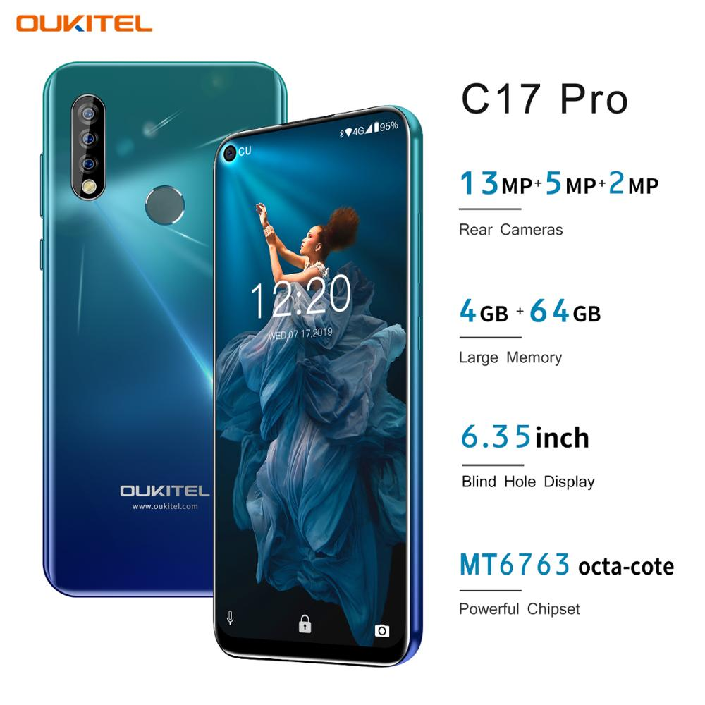 OUKITEL C17 Pro 4GB 64GB Cell Phone 6.35'' Full Screen Face ID Fingerprint Android 9.0 13MP Dual Camera 4G Network 2.4GH 5G Wifi