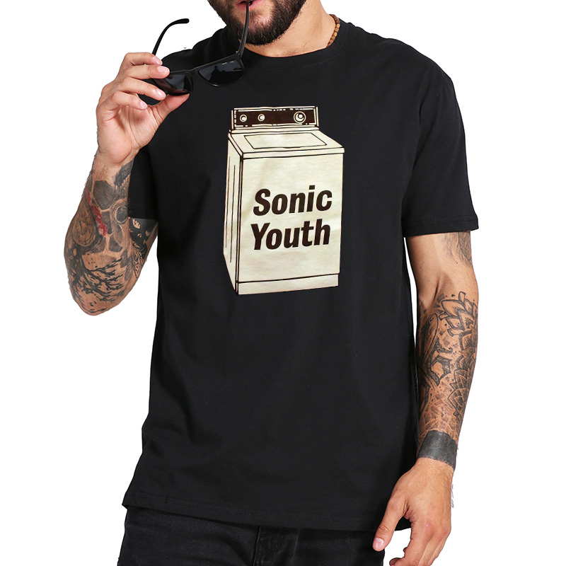 EU Size 100% Cotton T Shirt Alternative Pop Band Sonic Youth Tees Graphic Printed Tops Comfortable Casual Short Sleeve Homme