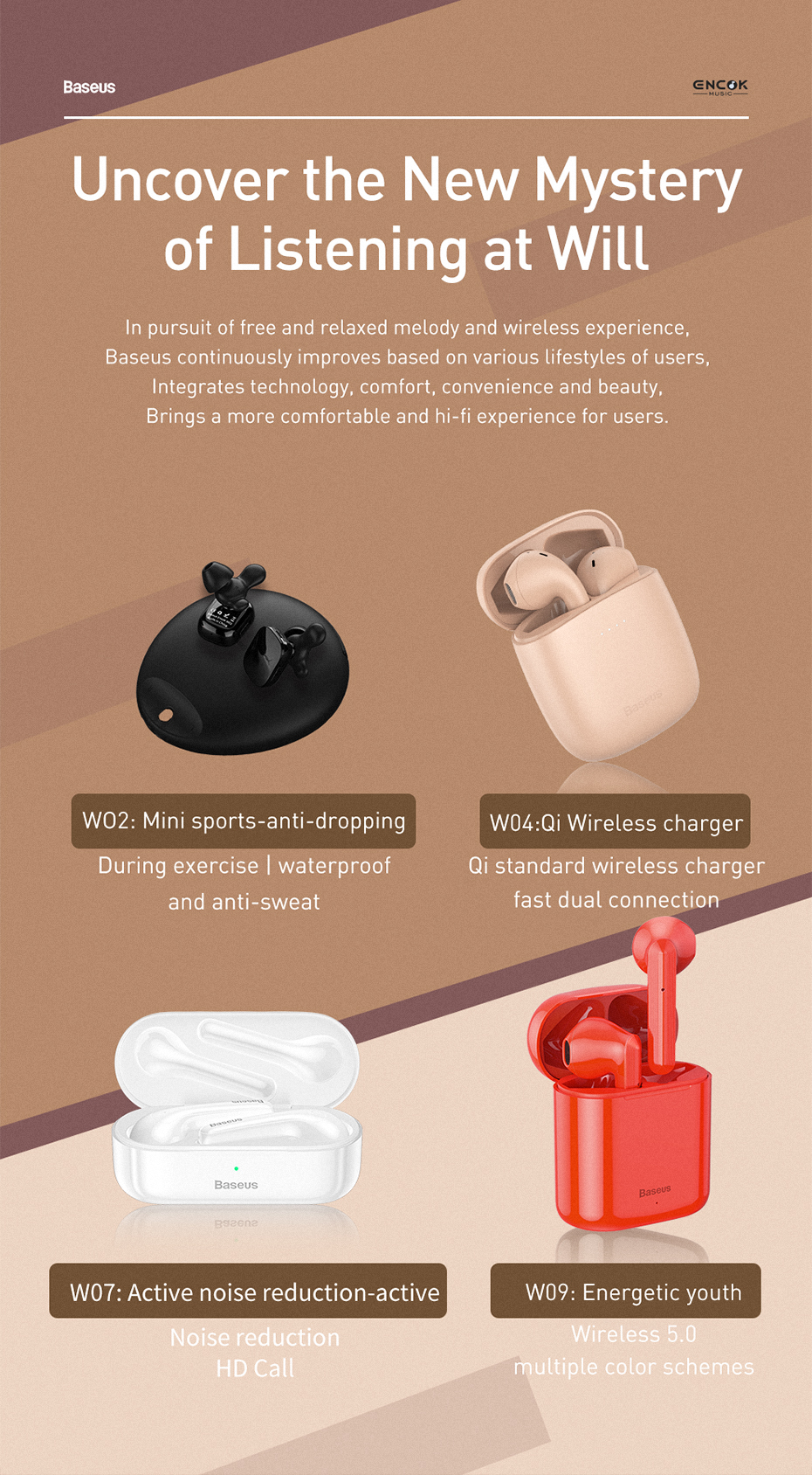 Baseus WM01 Plus TWS Wireless Earphone Bluetooth Headphone 5.0 True Wireless Earbuds Stereo Headset Mini In Ear Buds For Xiaomi