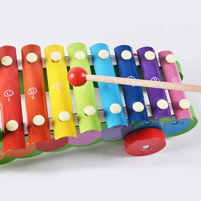 الملونة آلة موسيقية الطفل خشبية لعبة طفل التعليم المبكر الموسيقى التدريس المعونة الحيوان ناحية يطرق البيانو السحب سيارات لعبة