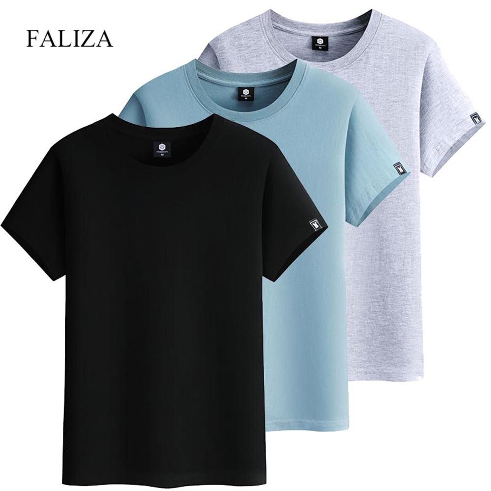 FALIZA, Мужская футболка с коротким рукавом, хлопок, высокое качество, модные однотонные повседневные мужские футболки, летняя футболка, одежд...