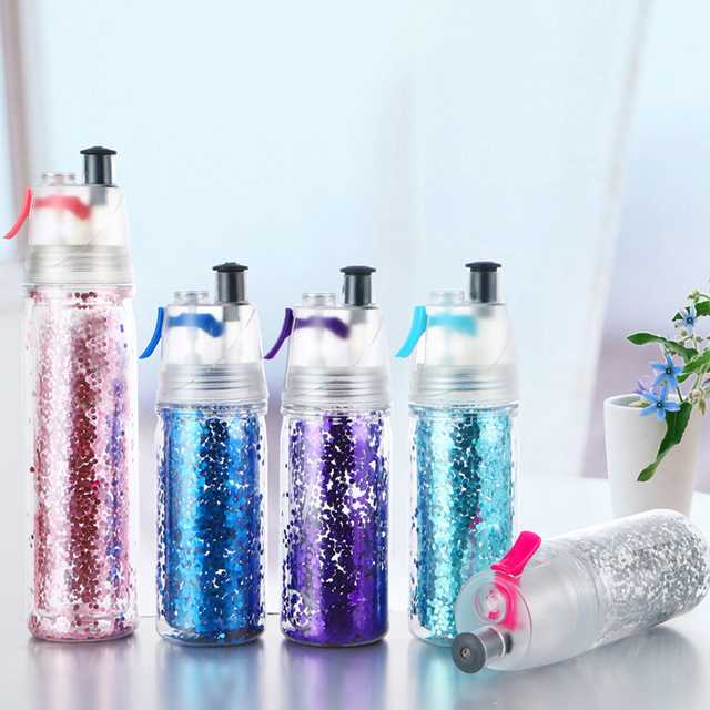 2020 New Water Cup Double Layer Glitter Spray Cup 350ML Sports Drinking Cup Safety Barrier Portable Quench Thirst Water Bottle