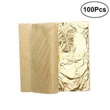 Hojas de hoja de oro de imitación de 100 hojas metálicas de oro brillante para muebles papel de aluminio dorado decorativo de cobre dorado