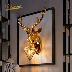 Nowoczesny amerykański Retro Deer kinkiet poroża kinkiety salon lampka nocna do sypialni Led kinkiet Home Deco oprawa w Wewnętrzne kinkiety LED od Lampy i oświetlenie na
